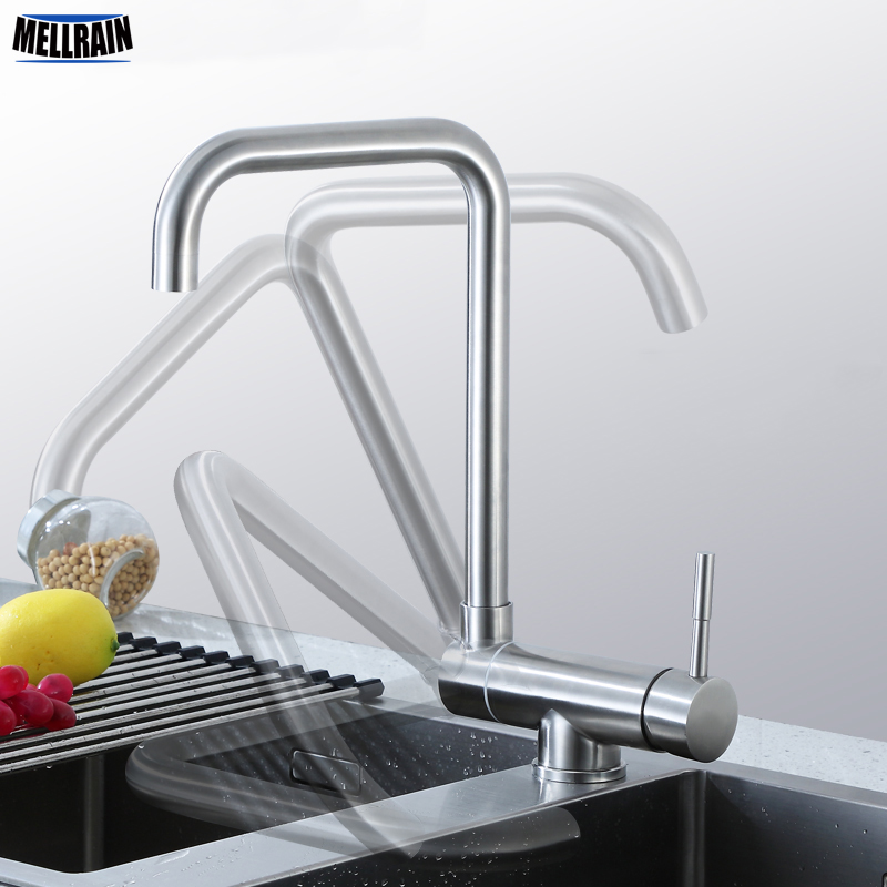 Hidden free rotatable kitchen faucet sink water mixer single hole deck mount 304 stainless steel surface brushed quality tap swanstone dual mount composite 33x22x10 1 hole single bowl kitchen sink in tahiti ivory tahiti ivory