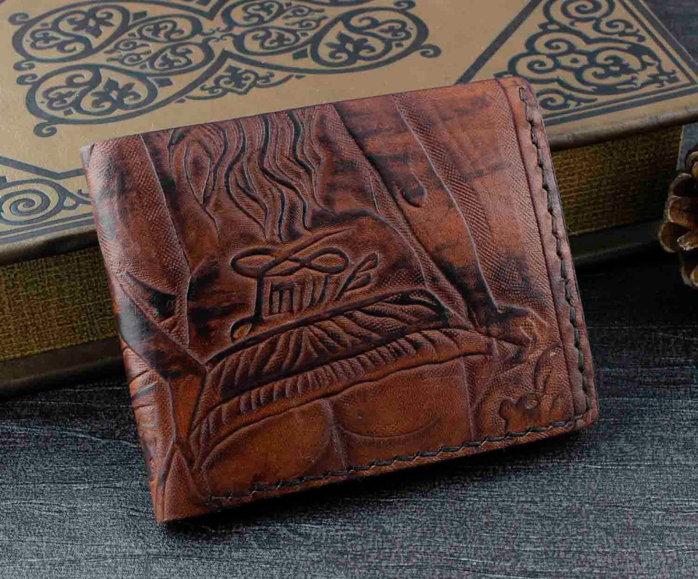 Mens hand carved tribe tatto cowhide vintage tan leather