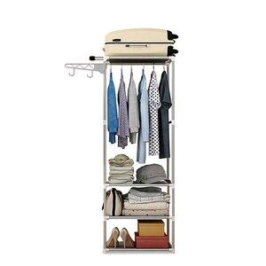 Image 1 - بسيطة معدن الحديد خزانة الطابق حامل المعطف الملابس معلقة رفوف تخزين الرف أثاث غرفة نوم