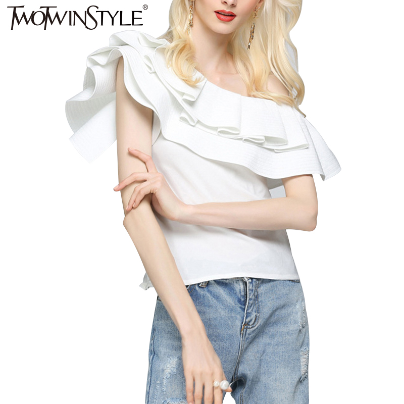 TWOTWINSTYLE 2017 a White Womens Blouses Shirts Female Summer Sexy Off Shoulder Sleeveless Tops Feminine Ruffle Blouse Clothes