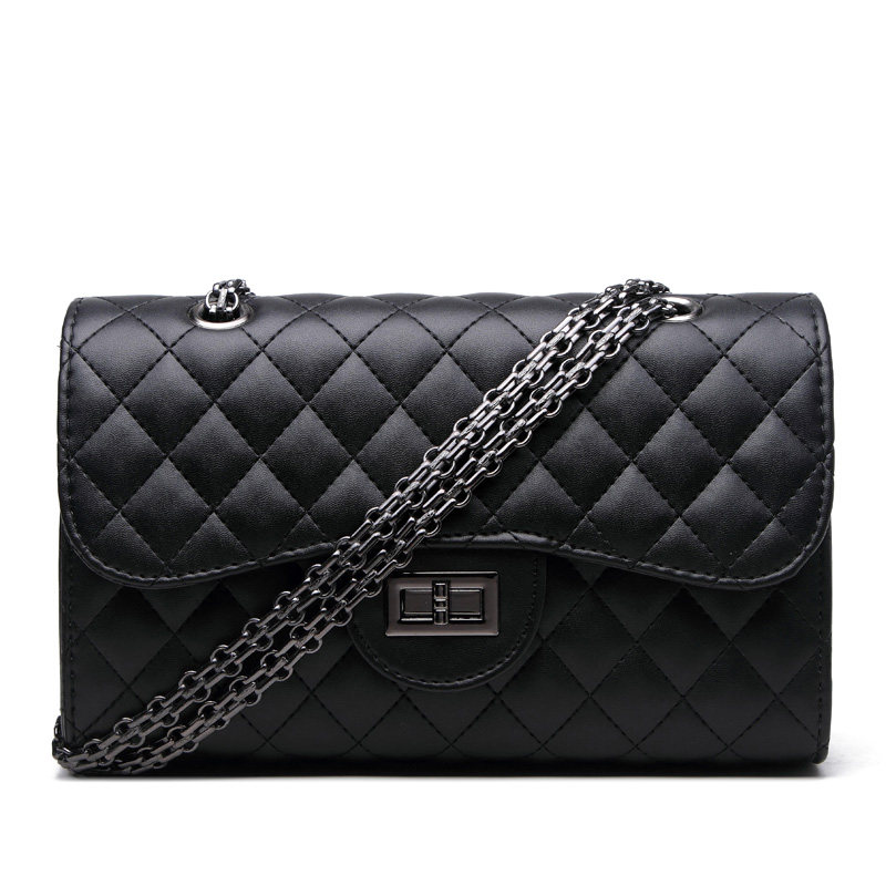 Classy Chain Quilted Bag Women Embossed PU font b Handbag b font Designer Luxury Lady Diamond
