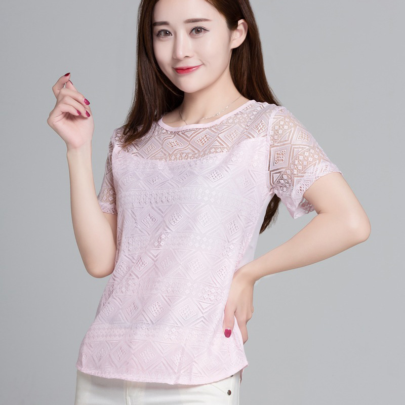 HTB14SbZSwDqK1RjSZSyq6yxEVXa6 - New Women Clothing Chiffon Blouse Lace Crochet Female Korean Shirts Ladies Blusas Tops Shirt White Blouses slim fit Tops