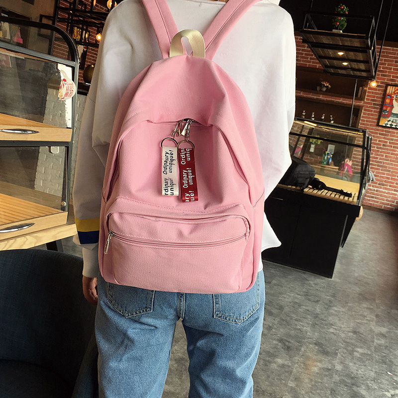 22fd643ba5 Simply Canvas Women Backpack High Quality Teenager Girls School Book Bag  Large Lady Travel Bagpack With Double Hang Decorations -in Backpacks from  Luggage ...