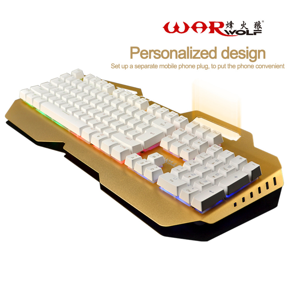 Warwolf Wired Mechanical Keyboard 104 Keys Gaming For Computer Games Mechanical Feel With 7 Colorful Rainbow Backlight