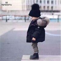 2017 New Fashion Baby Boys Jackets Fur Collar Autumn Winter Jacket Kids Warm Hoodies Children S