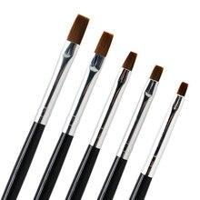 AMSIC 5 шт./компл. ногтей кисть плоская ручка для рисования инструмент акриловый Фрезер для ногтей cо шлифовальными кисти деревянная круглая ручка для ухода за ногтями Маникюрный Инструмент