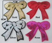 AE0110 6cm*7cm sequined patches 20pcs Bowtie shape iron on appliques clothes accessories
