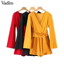 Vadim chic V neck jumpsuits bow tie sashes long sleeve solid rompers vintage female casual summer