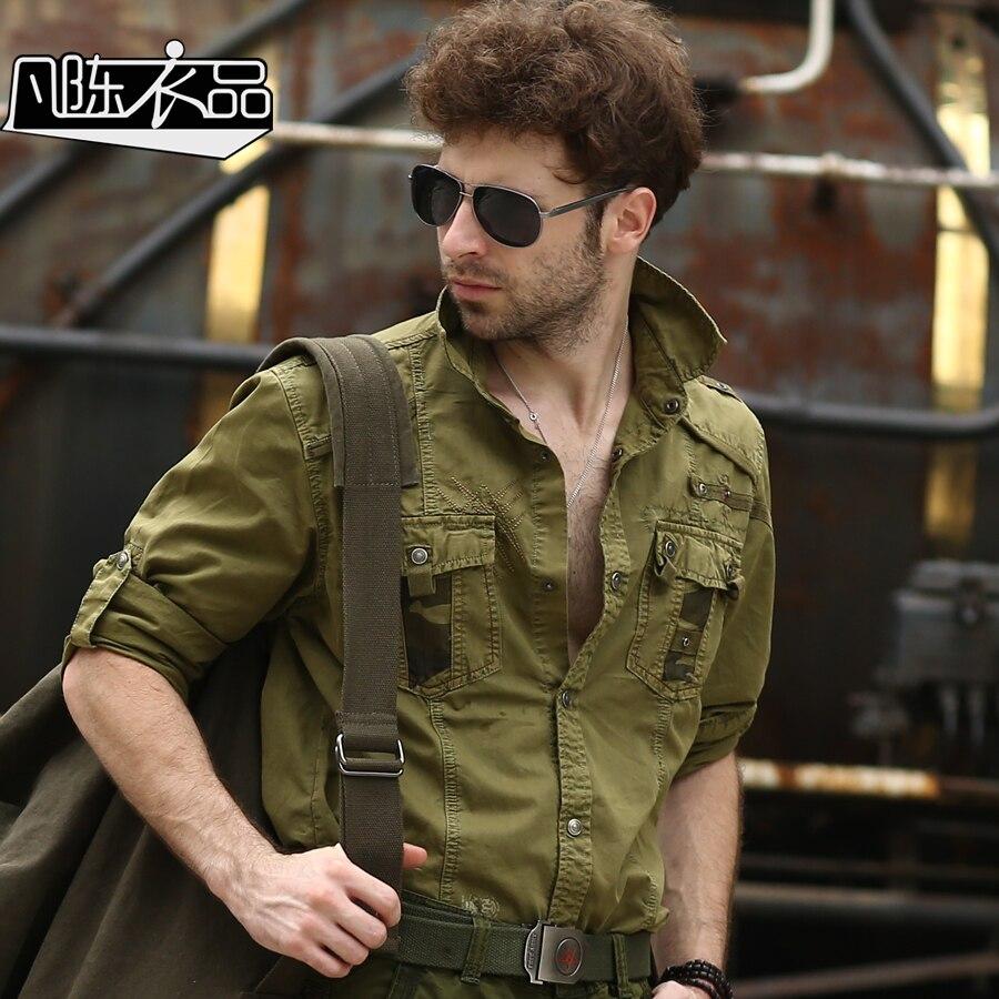2016 mens cargo shirt men military style long sleeve for Mens military style long sleeve shirts