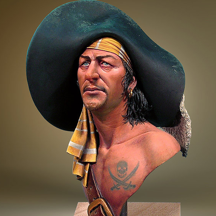 1:12 Bust Resin Resin Kit  Pirate, Madagascar 1720  Unpainted And Unassembled