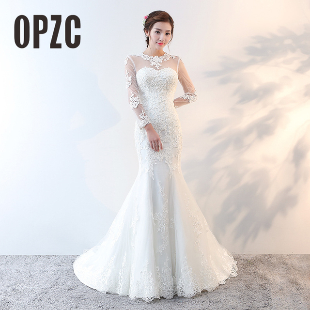 7b1ba1b1ba5 new arrival Hot sale Elegant beautiful lace flowers mermaid Wedding Dresses  vestidos de noiva Long Sleeve backless bridal dress