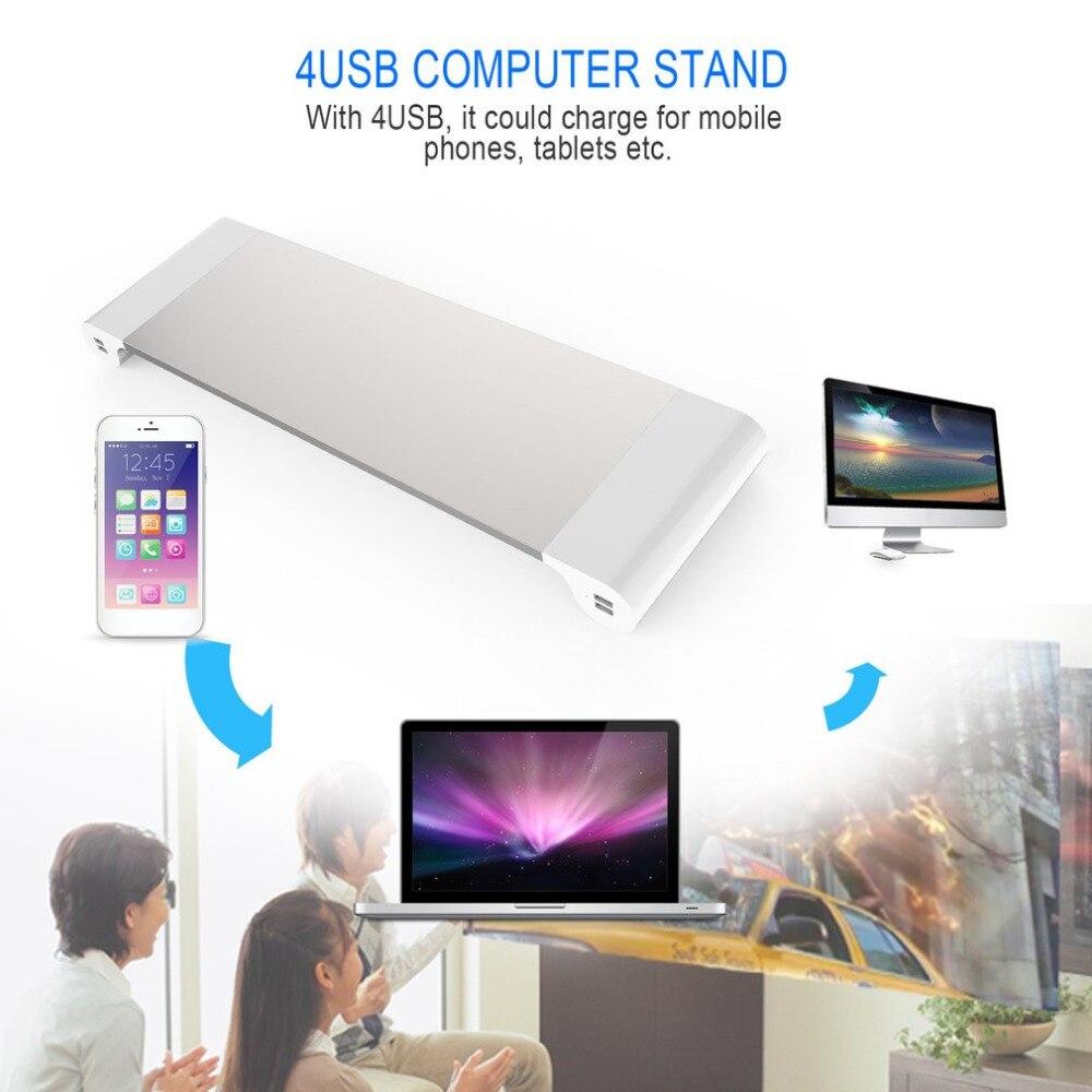 Support de moniteur d'ordinateur pour ordinateur portable avec 4 Ports USB gain de place rehaussez le support pour ordinateur PC EU US Plug in stock!!