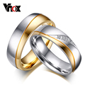 Vnox 10pcs/lots Wholesale wedding rings for couples  gold plated stainless steel jewelry provide mix size