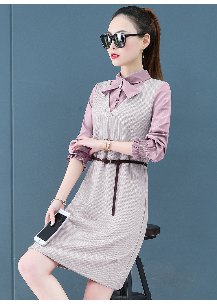 Render a dress in female new spring in the spring and autumn qiu dong fake two piece suit dress long 19