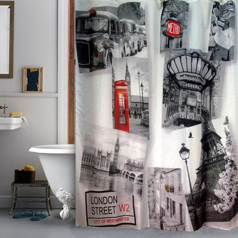 Modern Style Postcard Scenery Waterproof Polyester Fabric Shower Curtains Bathroom Curtain With 12 Hooks 180x180cm