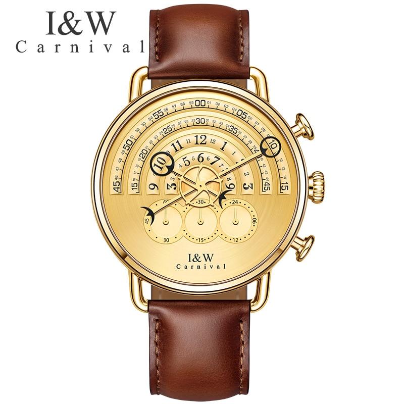 Carnival แฟชั่นที่ไม่ซ้ำกันควอตซ์นาฬิกาผู้ชายสายหนังสายหนังกันน้ำนาฬิกาสุภาพบุรุษ Top ยี่ห้อ Luxury Mens นาฬิกาข้อมือนาฬิกา erkek kol saati-ใน นาฬิกาควอตซ์ จาก นาฬิกาข้อมือ บน   1