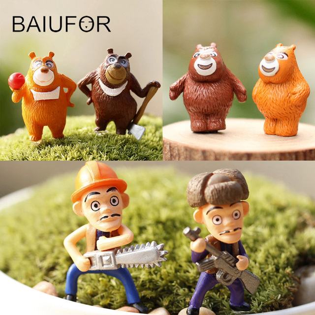 BAIUFOR Bear And Hunter Cartoon Gnomes Terrarium Miniature Mini Garden  Figures Fairy Garden Decoration Home Decor