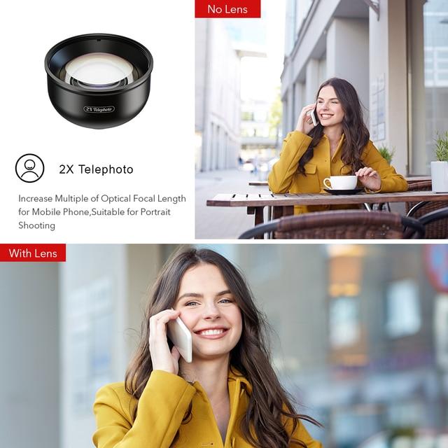 APEXEL optic High quality 5 in 1 Camera Phone Lenses 4K Wide macro Fisheye Tele super wide Lens for iPhonex xiaomi allsmartphone 2