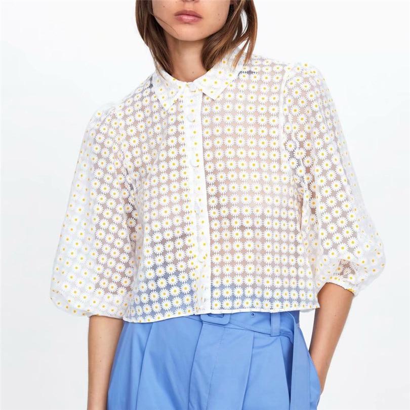 Women Sweet Floral Print Crop Top Three Quarter Puff Sleeve Turn Down Collar Transparent Female 2019 Causal Blouse