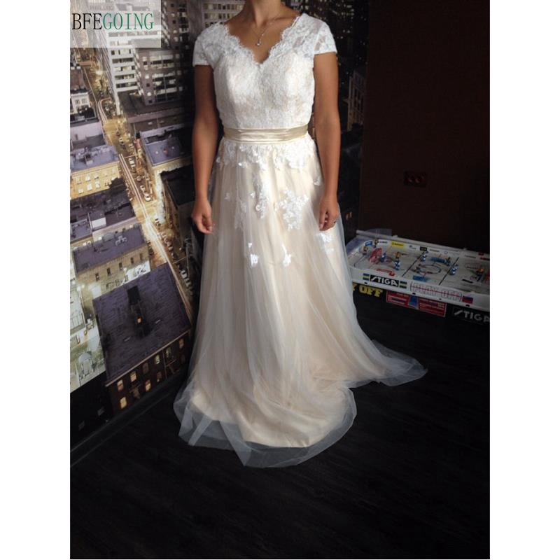 Image 2 - Vestido de novia Lace A line Wedding dress Cap sleeve  V back Bridal gown Lace with Tulle-in Wedding Dresses from Weddings & Events