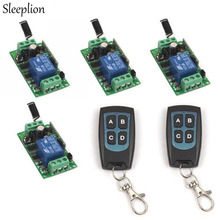 Sleeplion DC 12V 1CH RF Wireless Remote Switch 2 4-key Transceiver +4 Receiver Relay Integrated Circuit 315MHz/433MHz