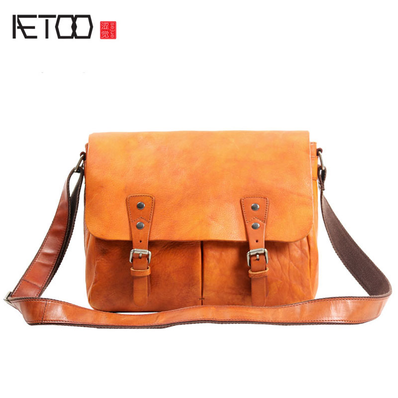 AETOO Handbags men bag leather shoulder bag head layer leather postman package retro leisure men bag art Messenger bag цена