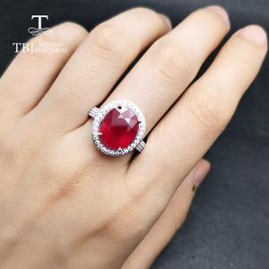 Image 5 - TBJ, elegancki pierścionek zaręczynowy z naturalny rubin w 925 sterling silver gemstone jewelr dla kobiet jako ślub walentynki, prezent