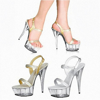 The new 2018 15cm high heels Fine with waterproof Roman hollow out big yards of shoes leather sandals foreign trade