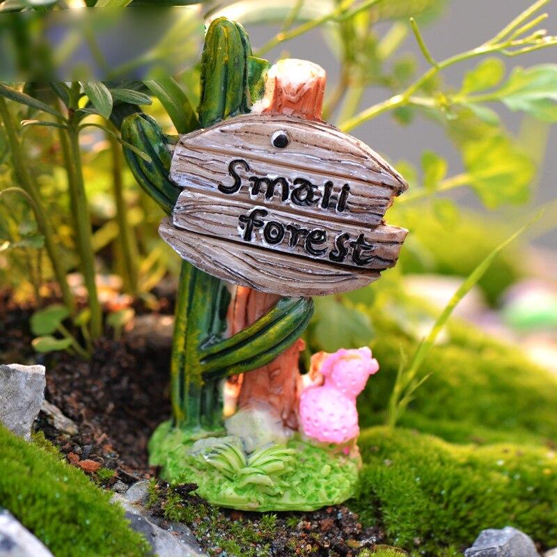2pcs Cactus Road Sign Kawaii Resin Craft Small Forest Miniature Fairy  Figurine Mini Garden Decoration Home Ornaments Accessories In Figurines U0026  Miniatures ...