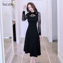 цена 2019 Plus Size A-line Dress Women Autumn Black Full Sleeve Mid-calf O-neck Elegant Lace Dress Vintage Party Club Dresses Ladies
