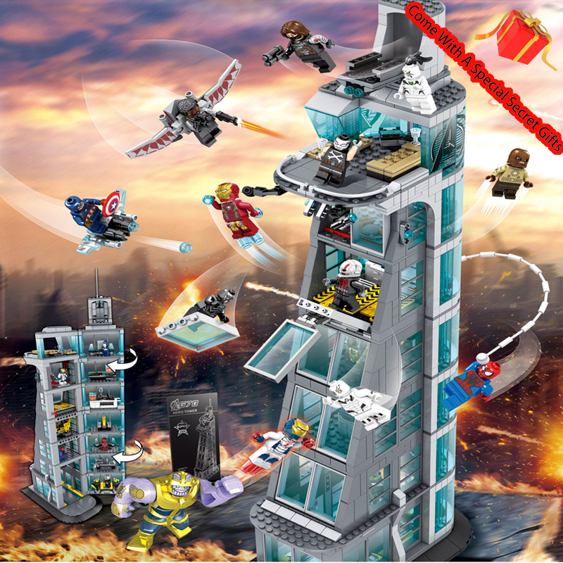 2019 New SuperHeroes Ironman Marvel Avenger Tower Fit Conpatible with Legoings Avengers Gift Building Block Bricks Boy Kid Toy