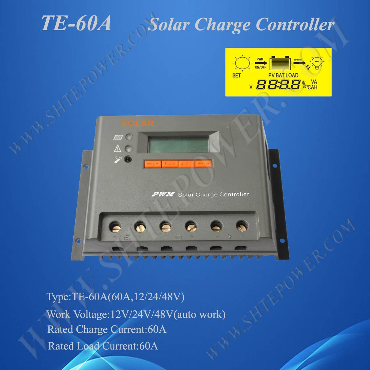 PWM Solar Charge Controller 60A 12V/24V/48V auto work , 2 Years Warranty, CE& ROHS Approved цена