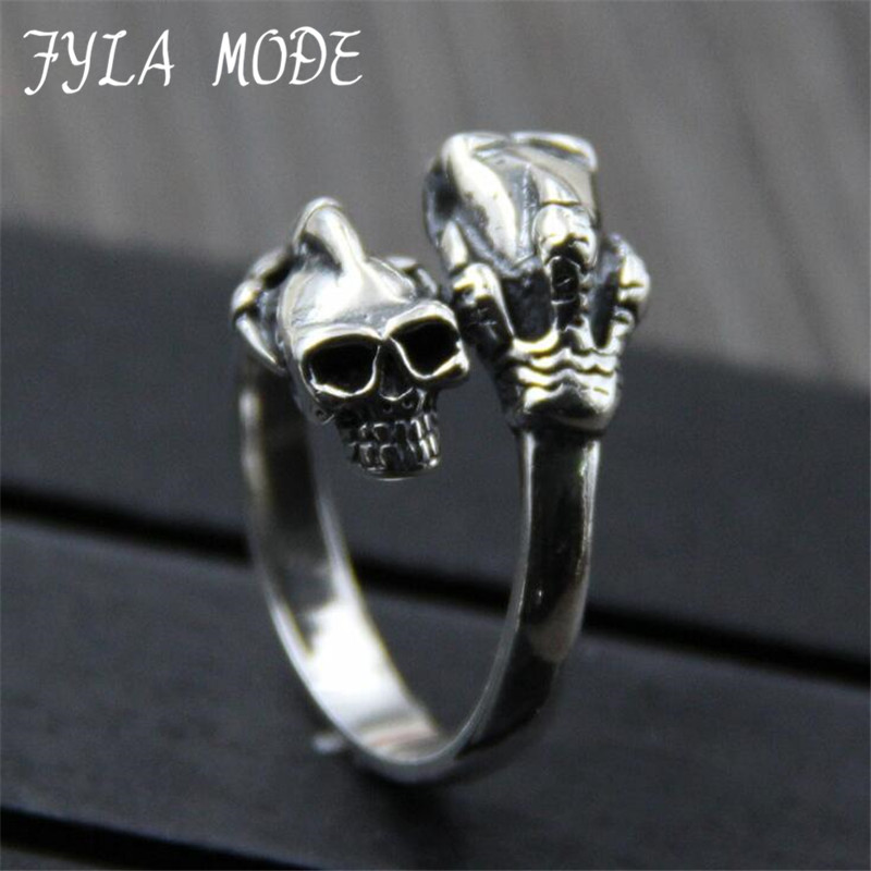 FYLA MODE 2017 S925 Sterling Silver High Quality Mens Gothic Punk Claw Thingking Skull Skeleton Rings 16MM Width 7.50G PBG030FYLA MODE 2017 S925 Sterling Silver High Quality Mens Gothic Punk Claw Thingking Skull Skeleton Rings 16MM Width 7.50G PBG030