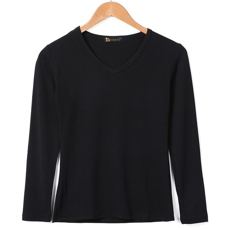 Women Basic Plain Round Crew Neck Tee Shirts Stretch Long