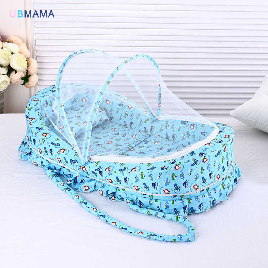 - Baby Bed With Mosquito Net Portable Baby Crib Game Cotton Folding