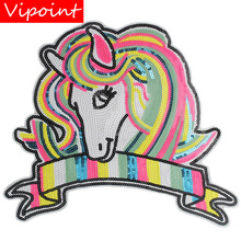 embroidery sequins unicorn patches for jackets,rainbow badges jeans,animal appliques coatsA252