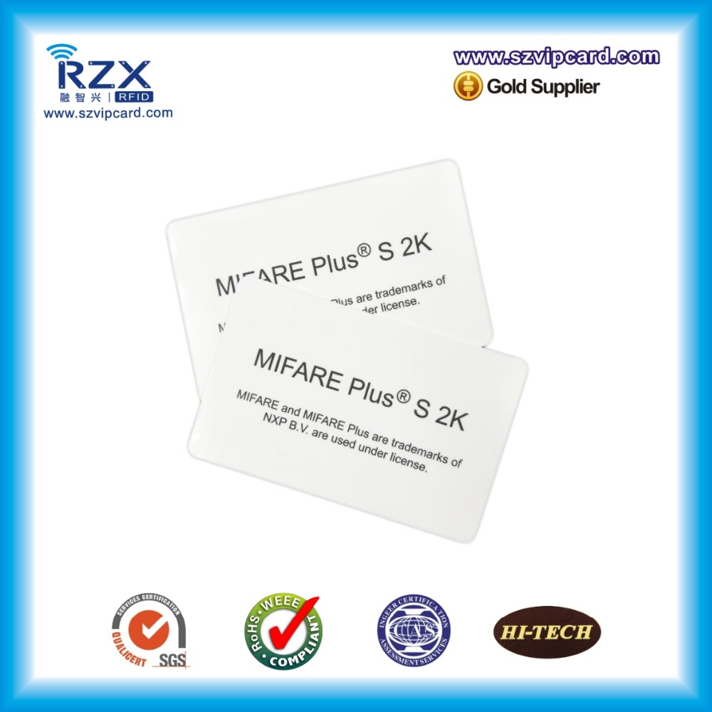 10pcs Free Shipping Overlay Lamination Plastic Material CR80 MIFARE Plus S 2K (4byte UID) Smart Blank Card