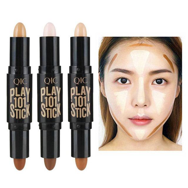 Kobiety Highlighter Face Concealer konturowanie bronzers wyróżnienia pióro kosmetyczne 3D makijaż korektor Contour Stick tanie i dobre opinie W WIINLIAN Krem 0 19 oz 2 8G * 2 Łatwy w noszeniu wybielanie korektor Rozjaśnianie E1473 1szt Pełny rozmiar Bronzer Highlighter