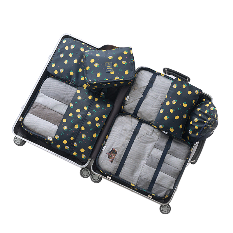 8pcs/set Fashion Double Zipper Waterproof Polyester Men and Women Luggage Travel Bags Packing Cubes