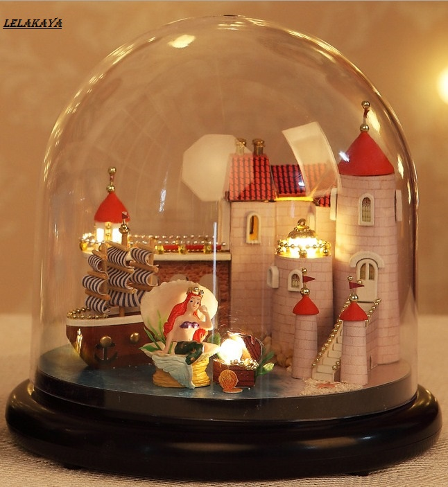 DIY Doll House Boat  Wooden Doll Houses Sweet Mermaid Miniature Home Assembling Toys Dollhouse Diy Glass Ball Toys Kit 1