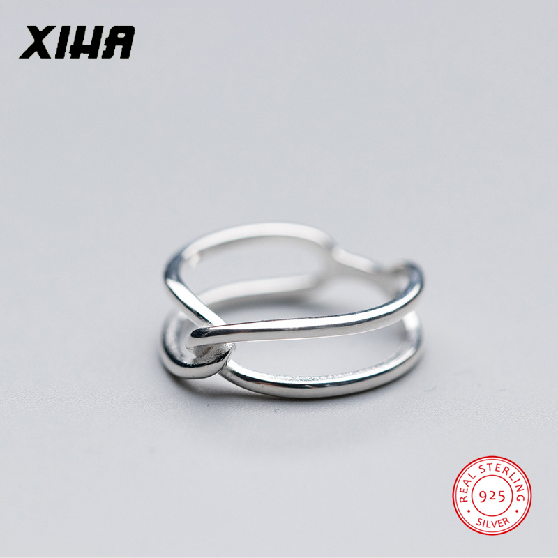 XIHA 925 Sterling Silver Rings for Women Simple Double Layer Twist Cross Shape Midi Fing ...