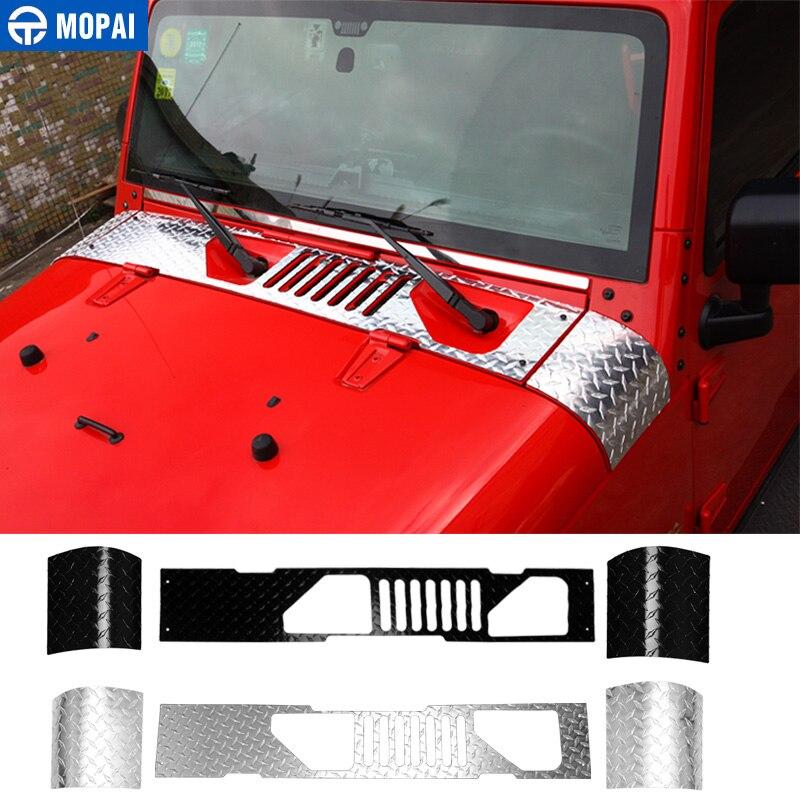MOPAI Styling Cornici per Jeep Wrangler JK 2007 Parabrezza Dell'automobile Del Tergicristallo Pannello Cappuccio Angolo Dell'involucro di Copertura per Jeep Wrangler Accessori