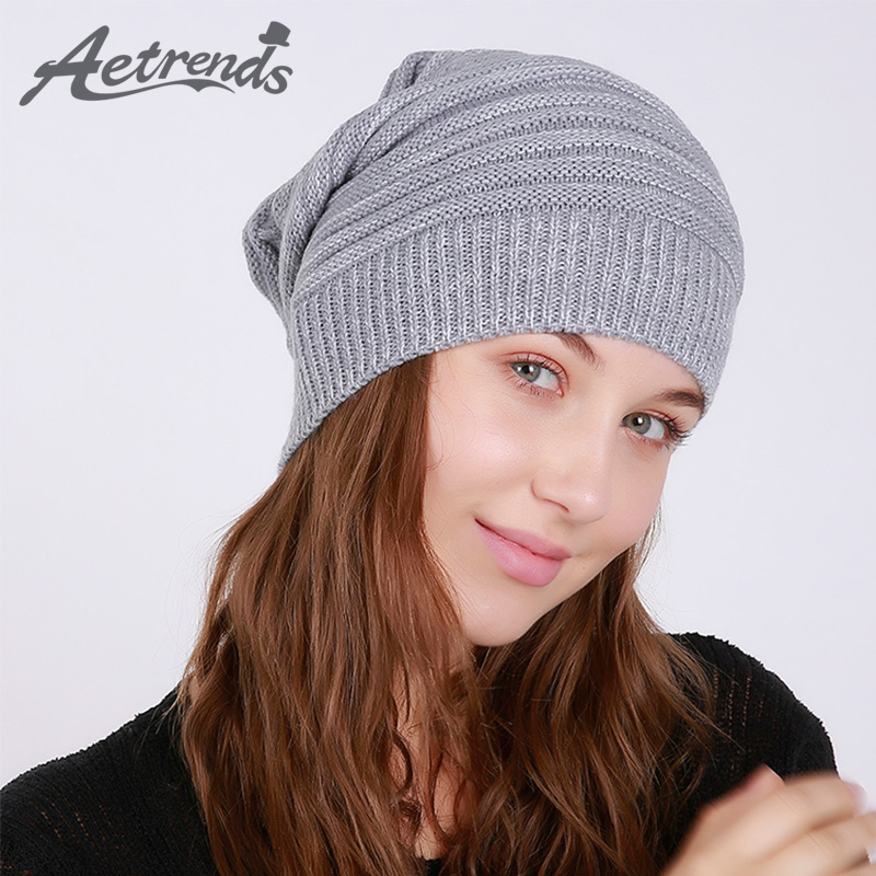 [AETRENDS] 2017 New Winter Beanie Hats for Women Warm Knitted Caps Beanies Z-6005 2016 new beautiful colorful ball warm winter beanies women caps casual sweet knitted hats for women outdoor travel free shipping