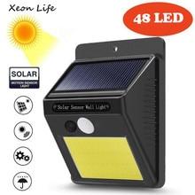 48 светодиодный настенный светильник на солнечной энергии с датчиком движения, наружный садовый светильник для безопасности, светильник на солнечной энергии, установочный винт для хранения