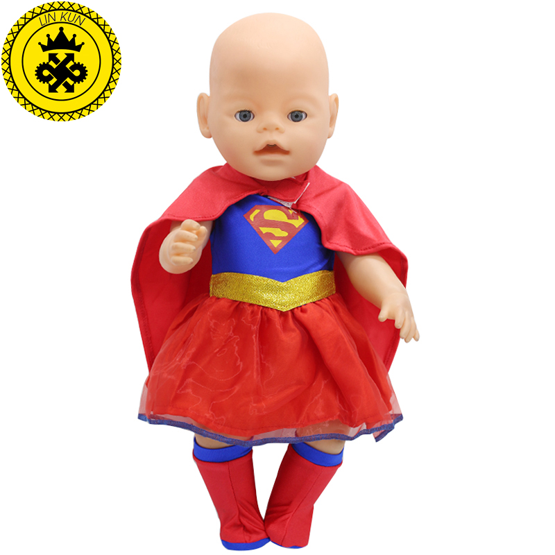 43cm Baby Zapf Doll Clothes New Superman Costume Dress + Cloak + Sock Baby Doll Accessories Children Best Gift 200 superman and spider man cosplay costume doll clothes fit 43cm baby born zapf doll accessories handmade child birthday gift t 5
