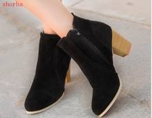 New Autumn Winter Women Boots Solid European Ladies shoes Martin boots Suede Leather ankle boots with thick scrub size 35-39(China)