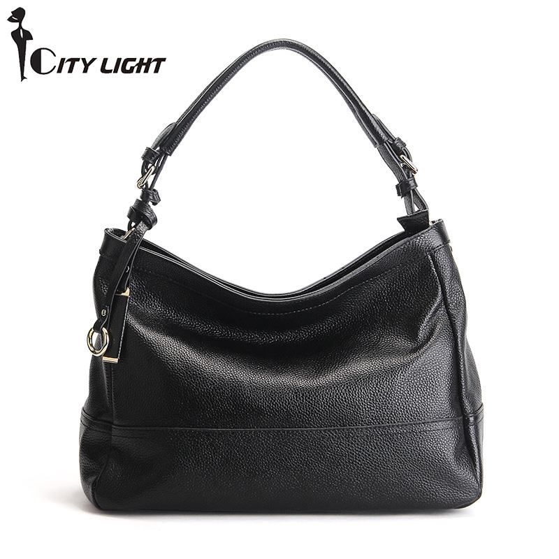 Genuine Leather Bag Women Simple Fashion Style Shoulder Bag Womens Brand Design Handbag women litchi Bags Casual Tote