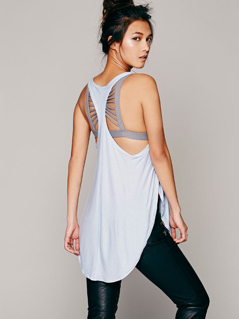 Nova moda sexy profunda u-pescoço cruz ruffled halter top para senhoras 4 cores longo macio solto colete femmes debardeurs plus size F525