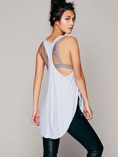 Nueva moda sexy profundo u-cuello cruz rizó halter top para damas 4 colores suave larga del chaleco flojo debardeurs femmes plus tamaño F525