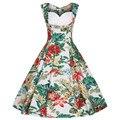 Audrey hepburn 50 s 60 s retro elegante dress flores imprimir verano vestido de bola de la vendimia vestidos de fiesta más el tamaño 4xl vestido femininos